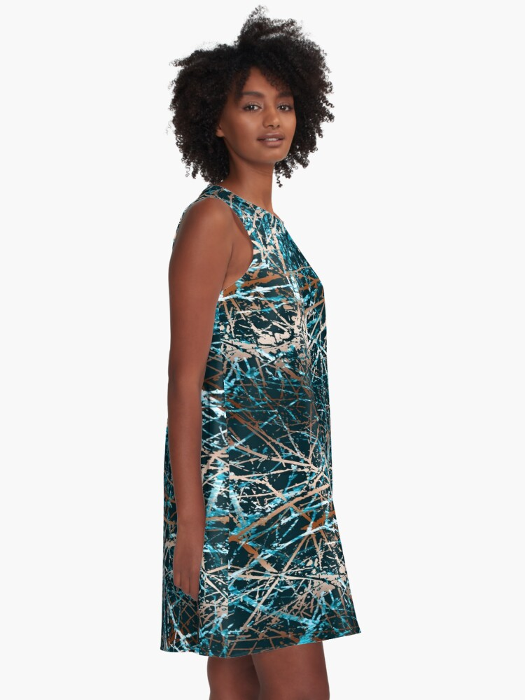 Alternate view of Ocean waves bronze color fancy A-Line Dress