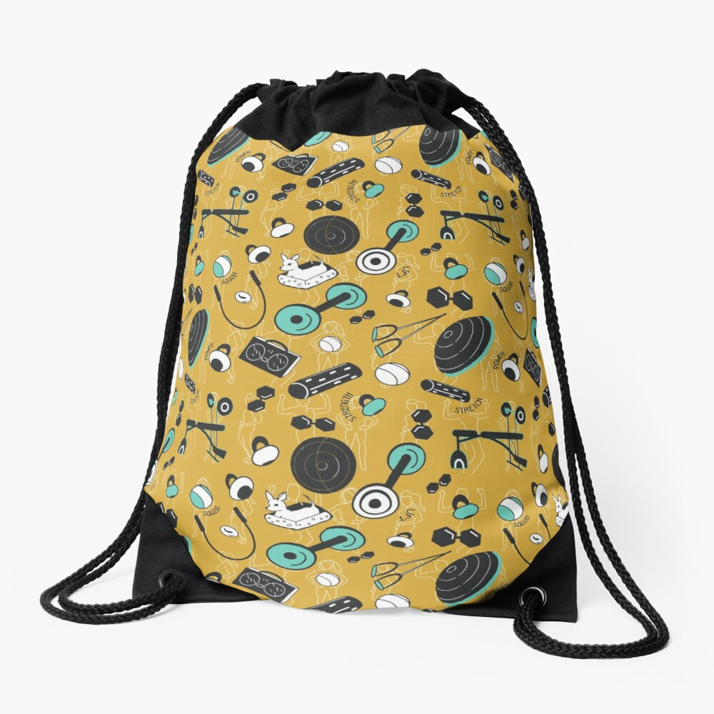 Strength train for days Drawstring Bag