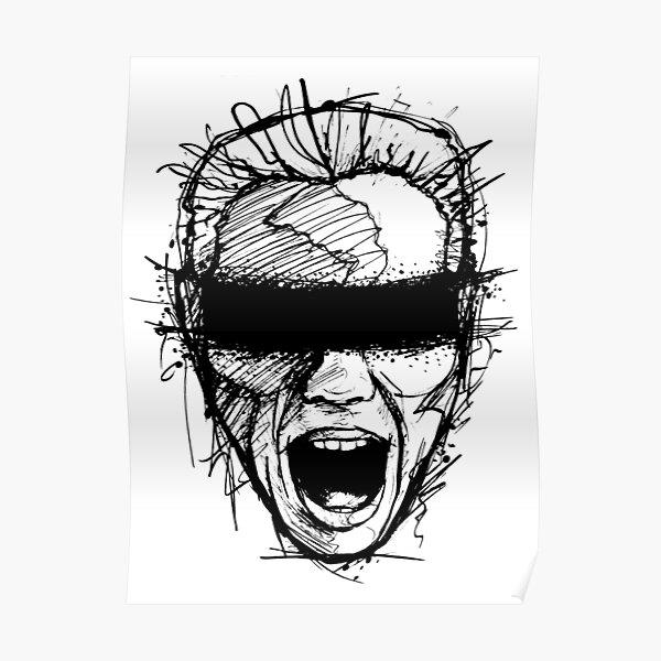 Girl Screaming BDSM Scream black white Sketch Poster