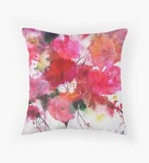 romantic pink roses Throw Pillow