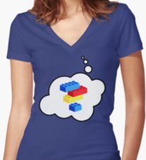 Bricks by Bubble-Tees.com Women's Fitted V-Neck T-Shirt