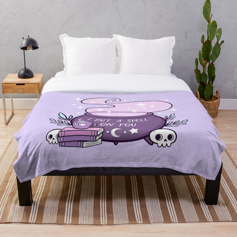 Witch Cauldron // Purple Throw Blanket