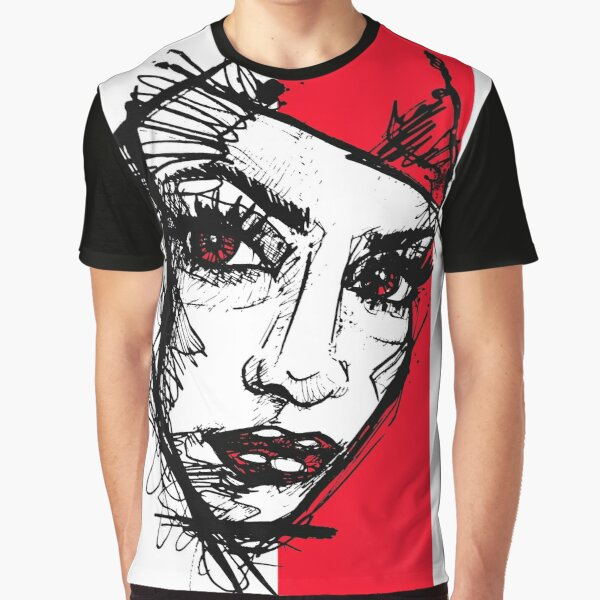 Mask Girl Face Red Sketch handdrawn Grafik T-Shirt