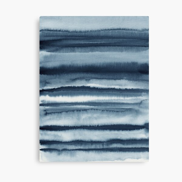 Abstract Navy Blue Sea Waves Canvas Print
