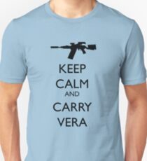 Keep Calm and Carry Vera - black text T-Shirt