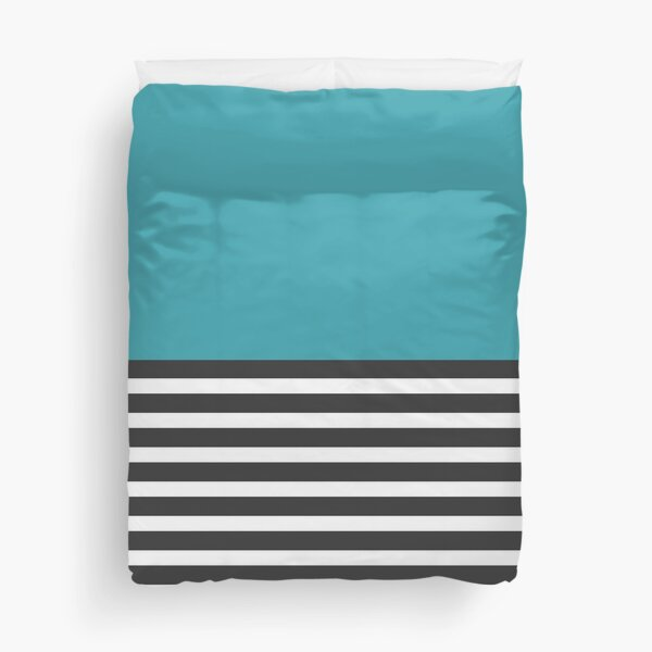 Half Striped Gray - Solid Turquoise Duvet Cover