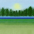 Peaceful Field with River and Trees Landscape by Annette Marionneaux Stevenson