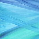 Blue Abstract Lines Watercolor Painting by blueskywhimsy