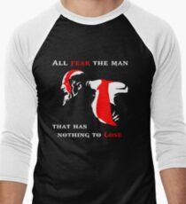Camiseta ¾ bicolor para hombre God of War Miedo al hombre
