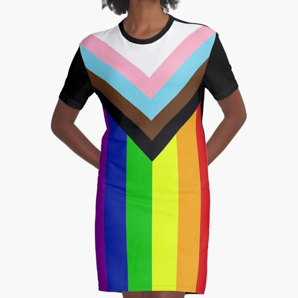 """Progress"" Pride Flag by Daniel Quasar Graphic T-Shirt Dress"