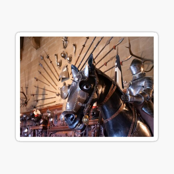 Medieval armour of the horse at Warwick Castle  Sticker