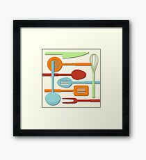Kitchen Colored Utensil Silhouettes on Cream III Framed Print