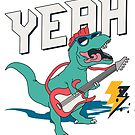 T-Rex Playing Electric Guitar Tyrannosaurus Rex Rock Music Band by scooterbaby