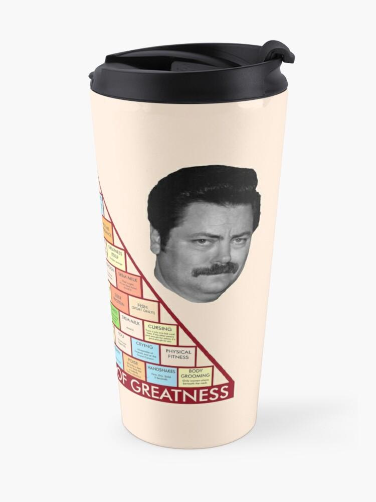 Alternate view of Ron Swanson's Pyramid Of Greatness Travel Mug