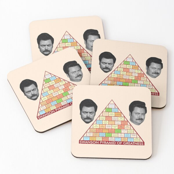 Ron Swanson's Pyramid Of Greatness Coasters (Set of 4)