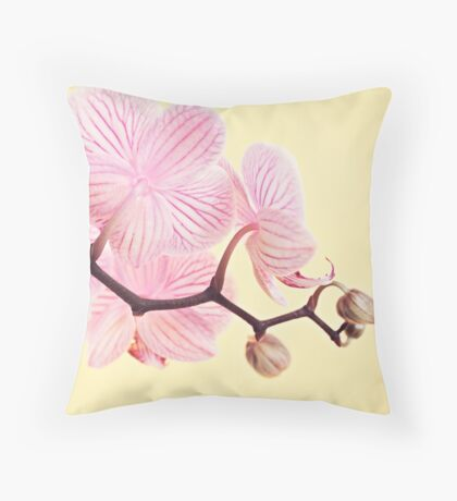 Pink phalaenopsis orchid blossoms Throw Pillow