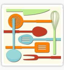 Kitchen Colored Utensil Silhouettes on Cream III Sticker