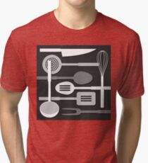 Kitchen Utensil Silhouettes Monochrome III Tri-blend T-Shirt