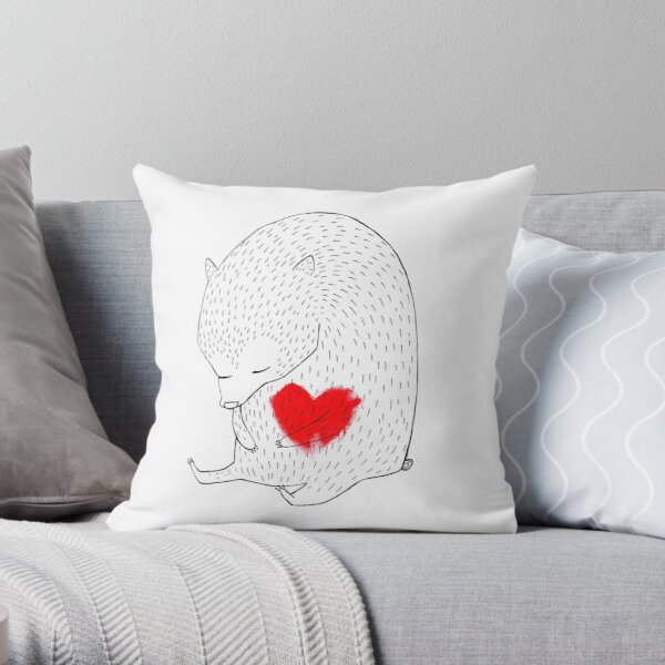 Heart Bear Throw Pillow