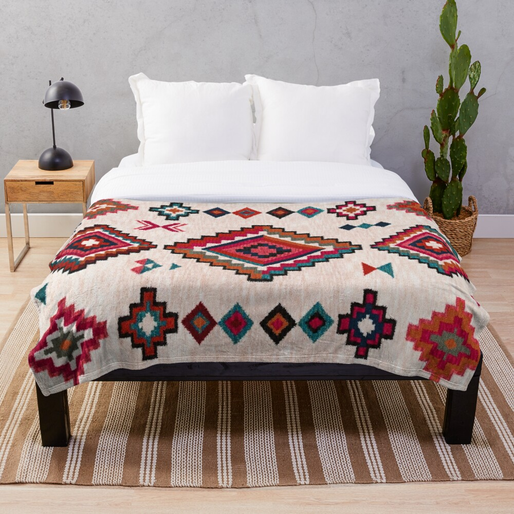 Bohemian Traditional Moroccan Colored Artwork Throw Blanket