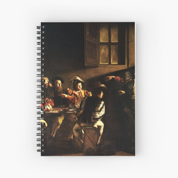 The Calling of Saint Matthew, masterpiece, Michelangelo Merisi da Caravaggio, #People, #group, #adult, #art, music, indoors, furniture, painting, flame, men, home interior, light, natural phenomenon Spiral Notebook