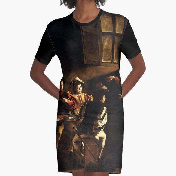 The Calling of Saint Matthew, masterpiece, Michelangelo Merisi da Caravaggio, #People, #group, #adult, #art, music, indoors, furniture, painting, flame, men, home interior, light, natural phenomenon Graphic T-Shirt Dress