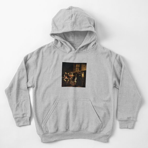 The Calling of Saint Matthew, masterpiece, Michelangelo Merisi da Caravaggio, #People, #group, #adult, #art, music, indoors, furniture, painting, flame, men, home interior, light, natural phenomenon Kids Pullover Hoodie