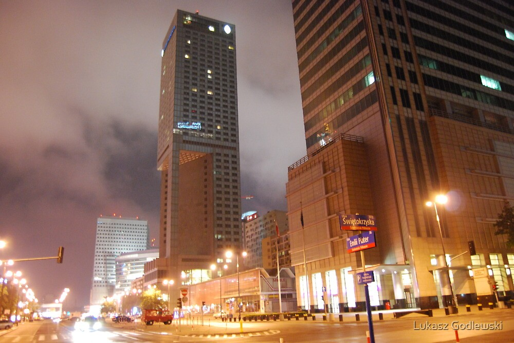 Intercontinental in Warsaw by night by Lukasz Godlewski