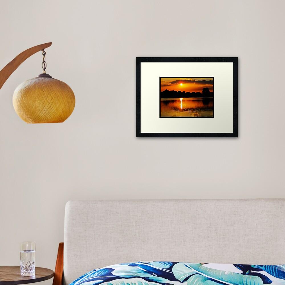 Golden Sunset on Water Framed Art Print