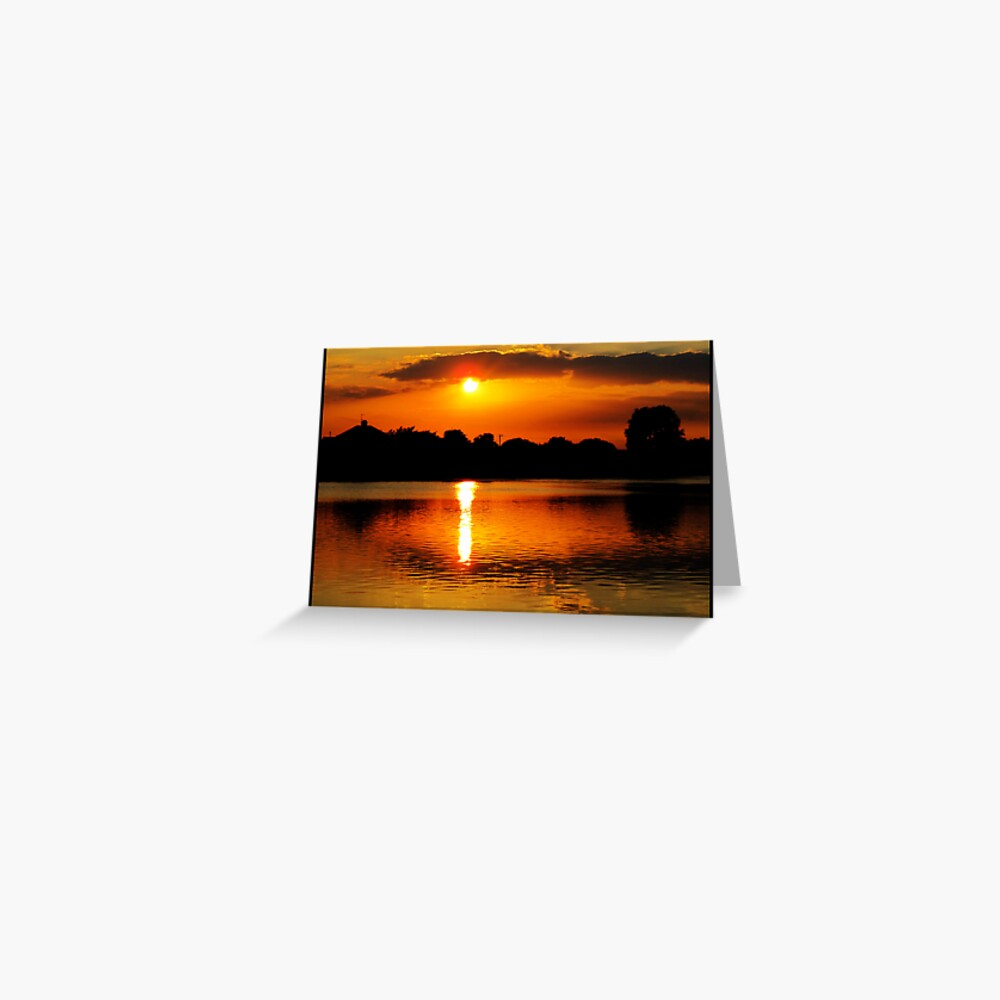 Golden Sunset on Water Greeting Card