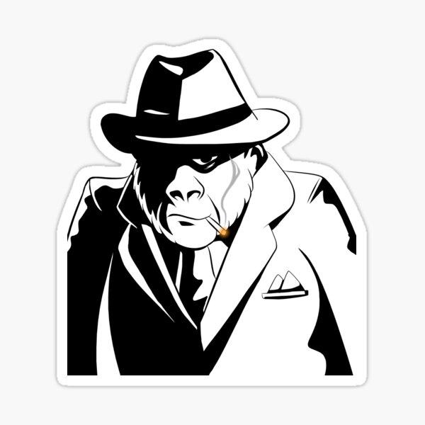 Gorilla Gangster black and white Sticker