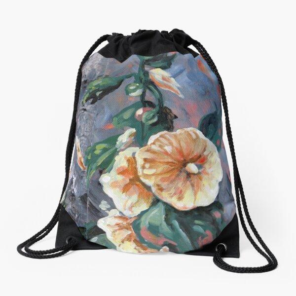 Timeless Hollyhocks Drawstring Bag