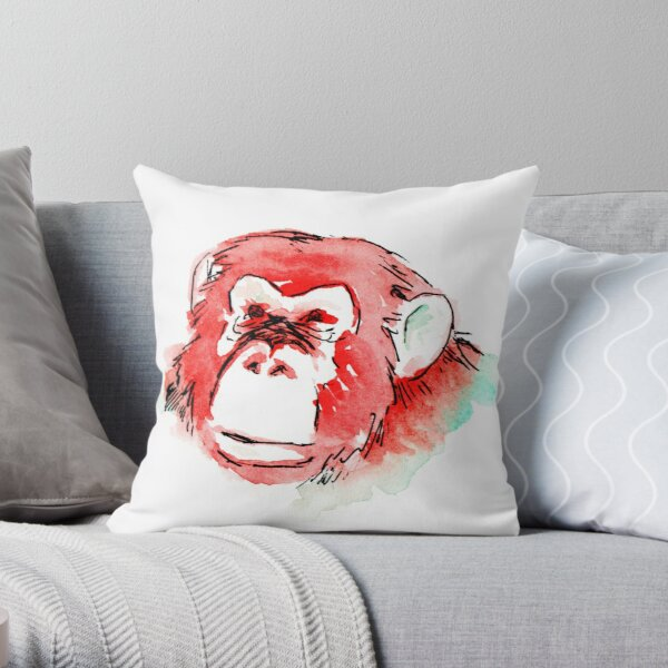 Monkey Head Throw Pillow