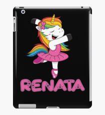 Renata Pink  Renata The Dancing Unicorn - Special Personalised Gift For Renata iPad Case/Skin