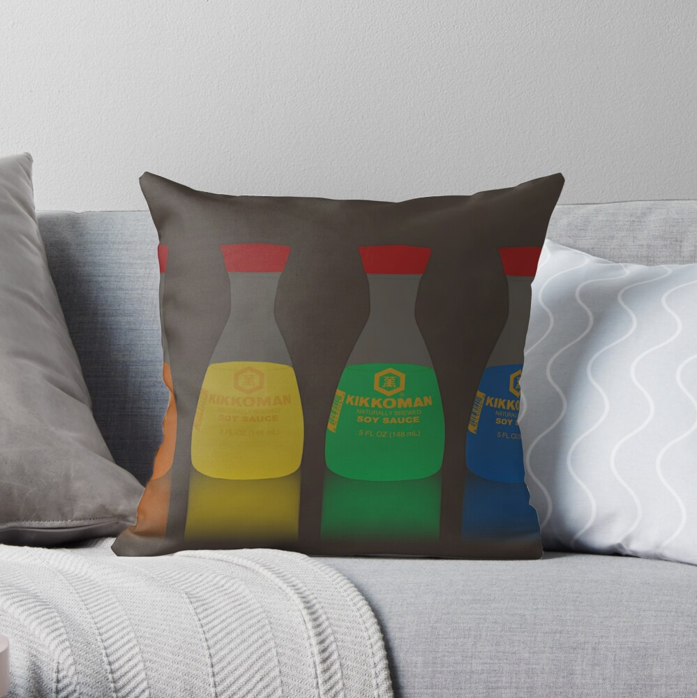 Soy Sauce Rainbow Throw Pillow
