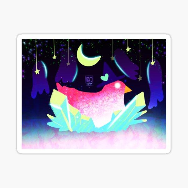Colorful Rainbow Glitter Witch Chicken Sticker