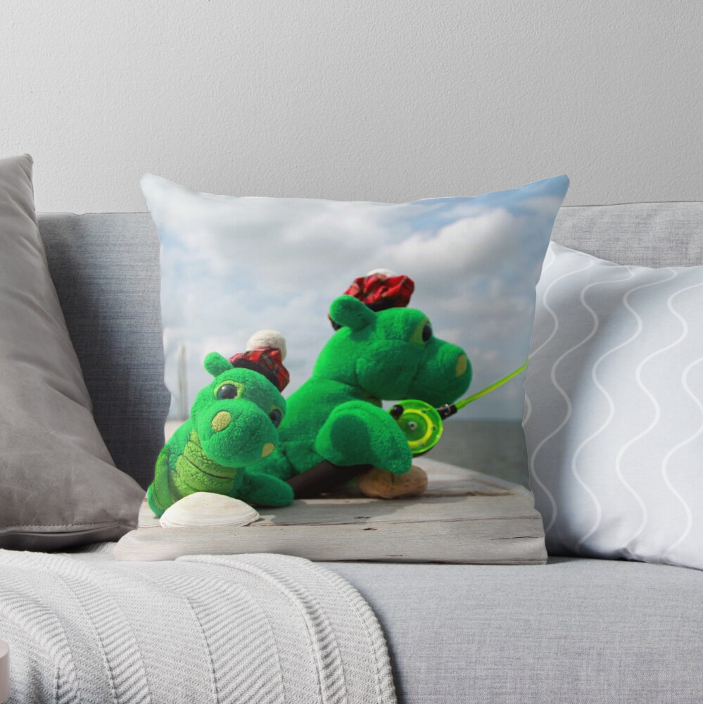 Loch Ness monster on vacation Throw Pillow