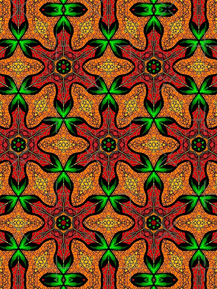 Ankara (red green mustard) African print fabric  by cardwellandink