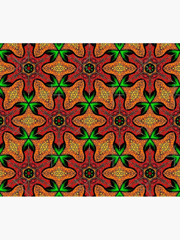 Ankara (red green mustard) African print fabric  by cardwellandink