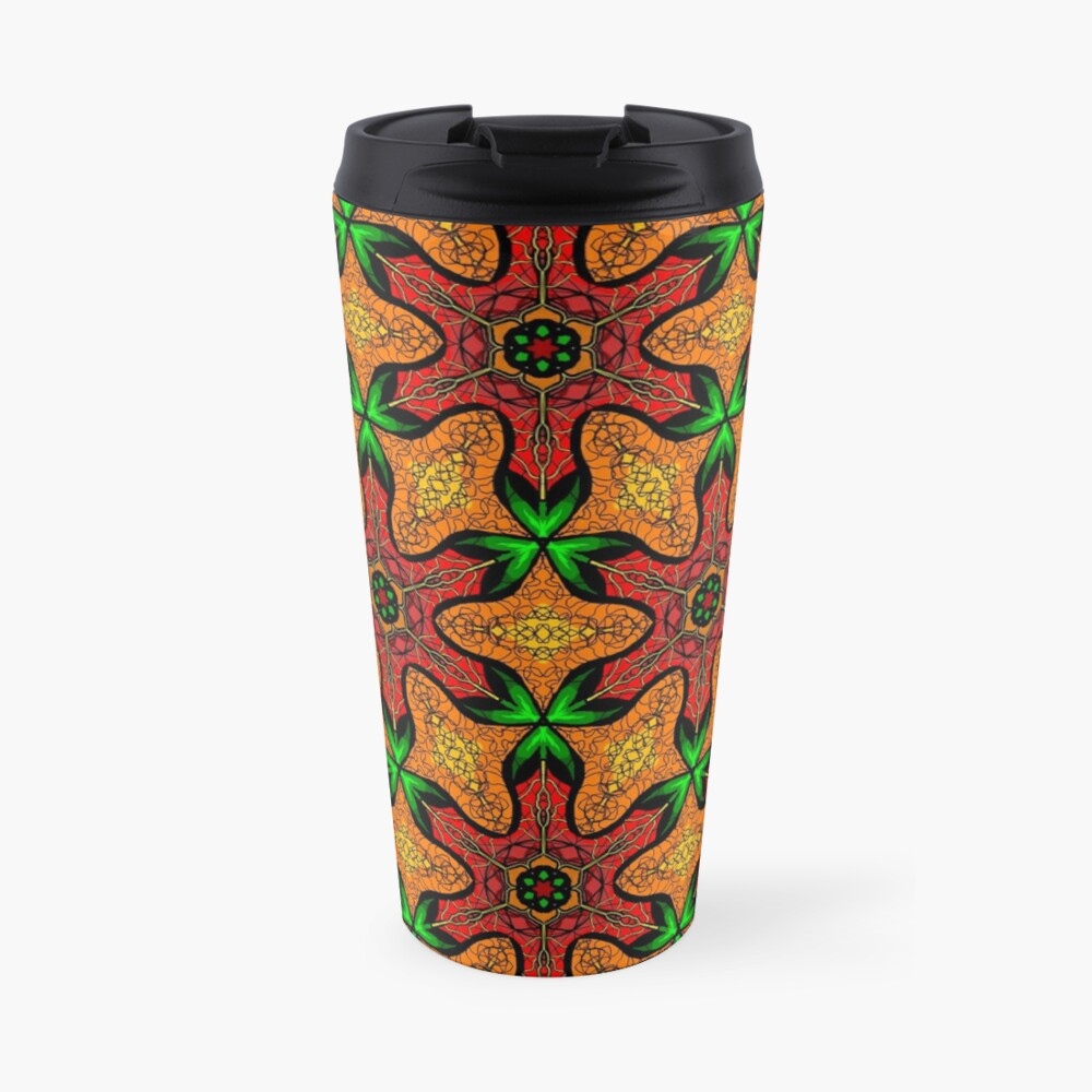 Ankara (red green mustard) African print fabric  Travel Mug
