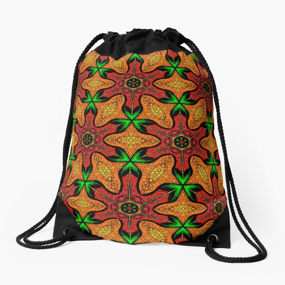 Ankara (red green mustard) African print fabric  Drawstring Bag