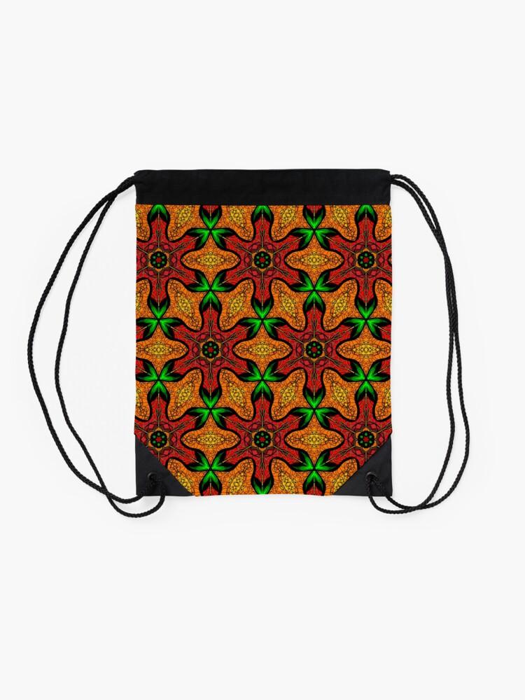 Alternate view of Ankara (red green mustard) African print fabric  Drawstring Bag