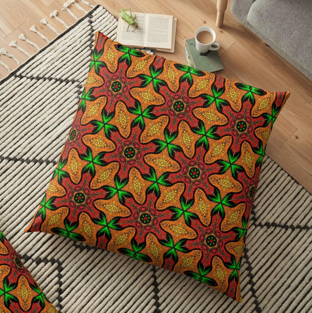 Ankara (red green mustard) African print fabric  Floor Pillow
