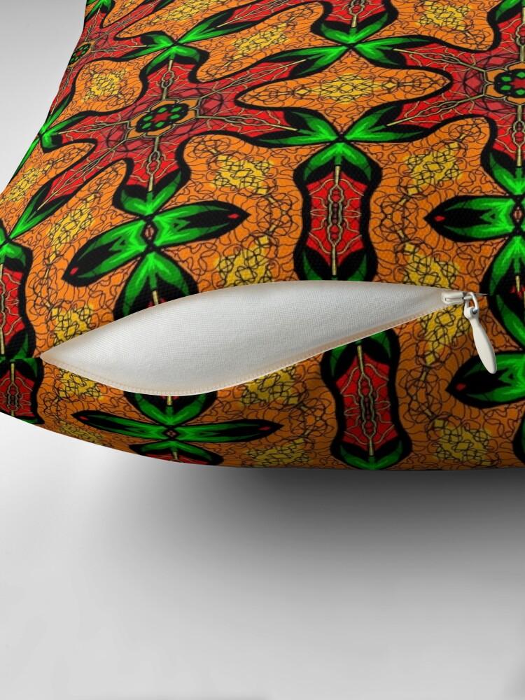 Alternate view of Ankara (red green mustard) African print fabric  Floor Pillow