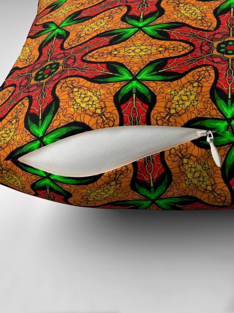 Alternate view of Ankara (red green mustard) African print fabric  Throw Pillow