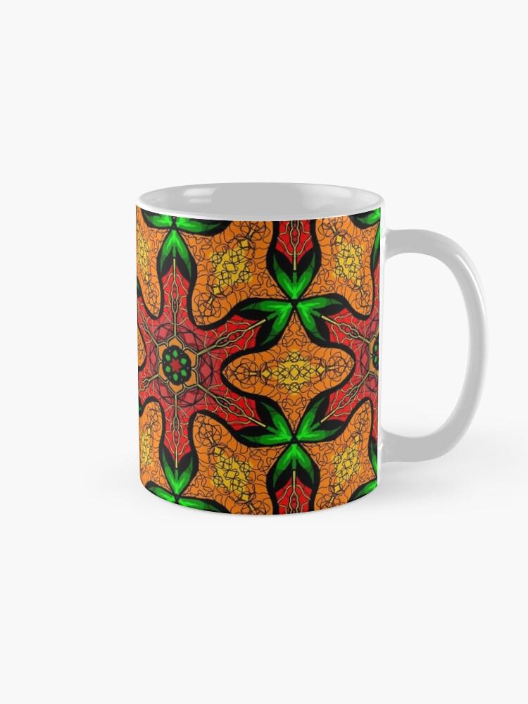 Alternate view of Ankara (red green mustard) African print fabric  Mug