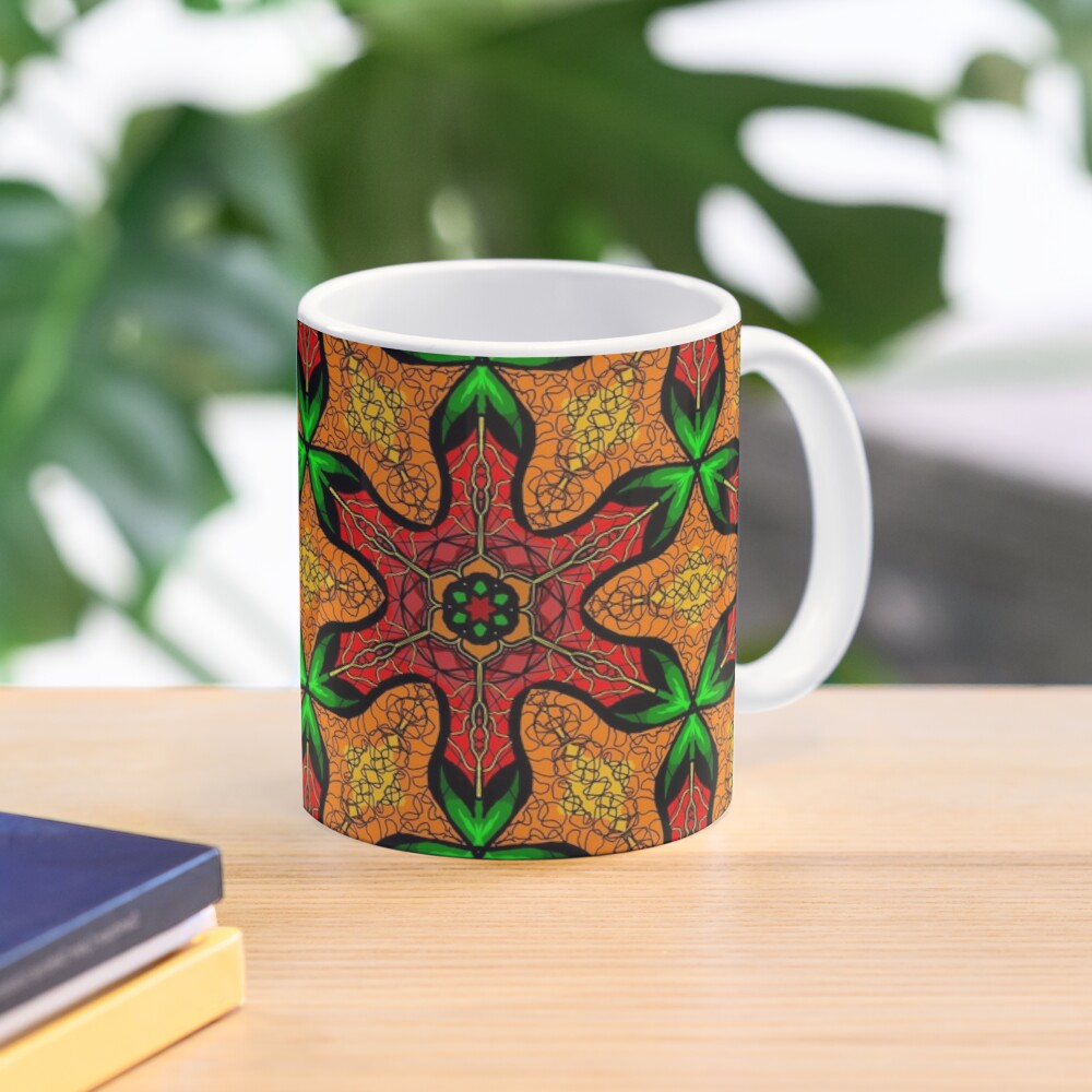 Ankara (red green mustard) African print fabric  Mug