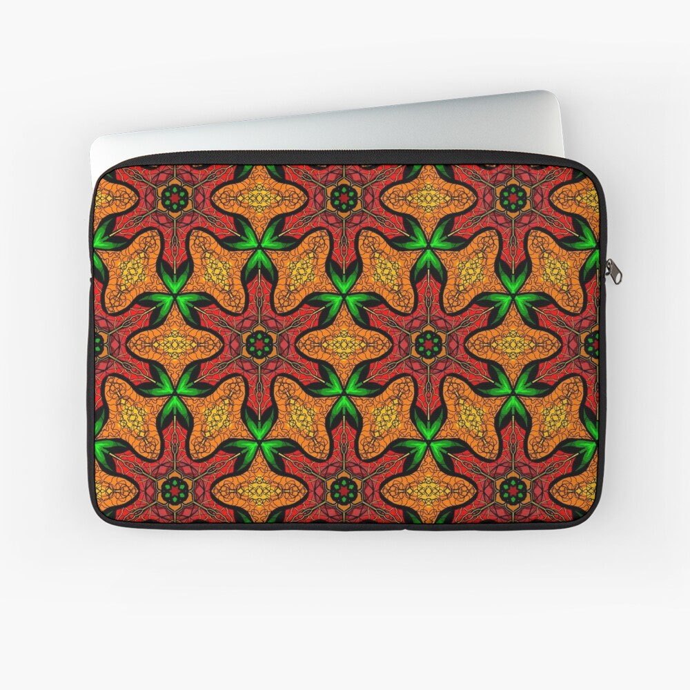 Ankara (red green mustard) African print fabric  Laptop Sleeve