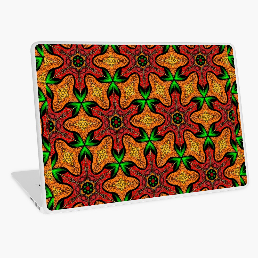 Ankara (red green mustard) African print fabric  Laptop Skin