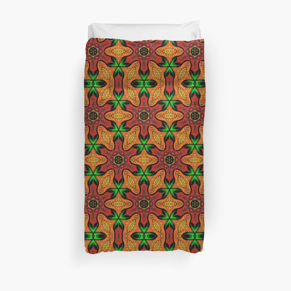 Ankara (red green mustard) African print fabric  Duvet Cover
